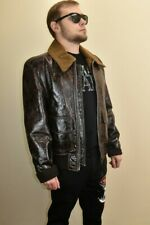 $5K DOLCE GABBANA BROWN CRACKED LEATHER BOMBER SHEARLING ZIP JACKET 54 / US 44