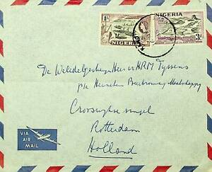 NIGERIA 1955 QE II 2v ON A/M COVER TO HOLLAND