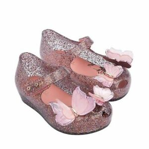 Mini Melissa Child Sparkle Butterfly Jelly Shoes Princess Kid Sandals US 7-12