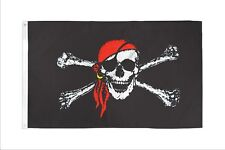 3x5 Pirate Red Hat Premium 210D 3'x5' Knitted Poly Nylon DuraFlag Banner(Fi)
