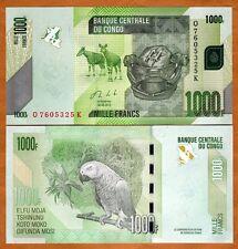 Congo D. R., 1000 (1,000) Francs, 2013, Pick New, UNC > Parrot