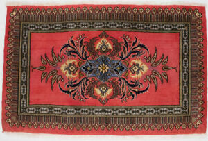 Classic Floral Design Small Entryway 2X3 Coral-red Oriental Rug Vintage Carpet