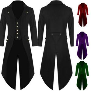 PC Retro Victorian Steampunk Swalow Gothic Men Tailcoat Jacket Ringmaster Tail