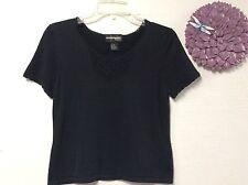 Requirements Petite womens knit sweater top size petite medium black silk 143