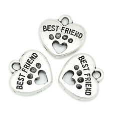 30PCs Charm Pendants Carved Letter Silver Tone With Heart Dog Paw Best Friend