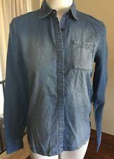Diesel FiftyFive DSelle Splur Shirt Blue Denim Button Front Womens XXS