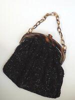 Ancienne Bourse / Sac à main brodé de perles noires - Vintage, couture