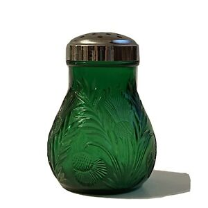 Dark Green Glass Inverted Thistle Pattern Sugar Cheese Shaker Mosser