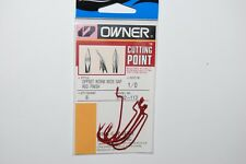 3 packs owner cutting point offset worm wide gap 1/0 5102-113 6 pr pk red hook