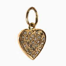 0.17cts Genuine Diamond 14kt Hallmarked Solid Yellow Gold Lovely Heart Charm