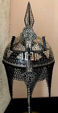 Indo Persian Ottoman Mughal Islamic Qazar Silver Kufic Helmet Koftgari work