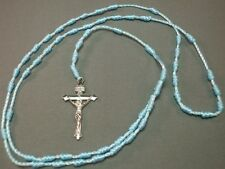 Rosary Necklace Corded Knot Design Silver Crucifix BLUE Limited Stock!