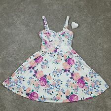 Ladies Topshop Floral Short Strappy Dress Lacey Overlay Size 4 8 36