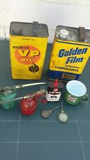 VINTAGE JOBLOT OF OIL CANS AND CASTROL METAL CUP DISPLAY LOT
