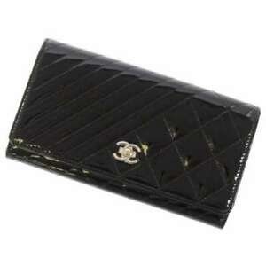 CHANEL Coco Boy Bifold Wallet Purse Patent Leather Black A80464