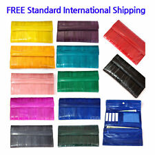 Genuine Eel Skin Leather Womans Long Wallet Trifold Purse