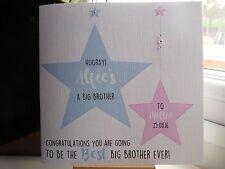 Fatto a mano personalizzato Nuovo Grande Fratello o Sorella Maggiore CARD