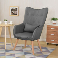 Comfy Linen Arm Chairs Lounge Sofa Easy Reading Padded Seat Chair Moistureproof