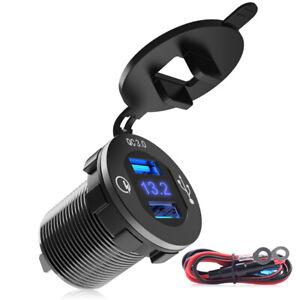 12-24V QC3.0 Dual USB Car Charger Fast USB Socket Outlet + Blue LED Volt Meter