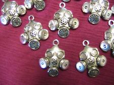 """STEAMPUNK GAS MASKS, Lot of 2 Tibet silver charms, doll,jewelry,arts 1-1/4"""" x 1"""""""