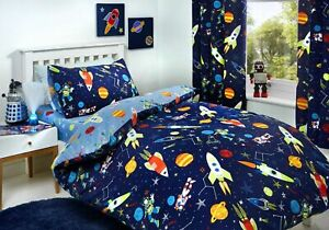 Bedlam Kids Supersonic Space Planets Duvet Cover Set, Fitted Sheet OR Curtains