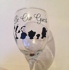 6 X Be Our Guest Beauty And The Beast Wine Glass Vinyl Decal Sticker