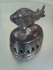 1850-1899 figurines and statues, Antique brass fish sculpture bathing scrubber.