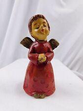 Vintage Parma Chalkware Christmas Angel Red Japan, Cute Figure Winged