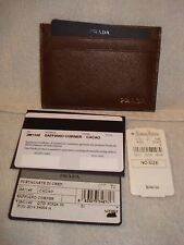 100% AUTHENTIC PRADA BROWN TEXTURED LEATHER CARD CASE WALLET