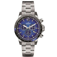 Edox Men's Chronorally S 44mm Steel Case Swiss Quartz Watch 10229 3NBUM BUIN