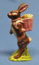 Rare Vaillancourt Folk Art Chalkware Tall Bunny Rabbit with Babies in Basket