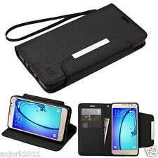 BLACK FAUX LEATHER FLIP FOLIO CASE W/STAND COVER FOR SAMSUNG GALAXY ON5 G550