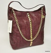Nwt Dimoni Spain COCO Croco Leather Tote Shoulder Bag Handbag Hobo ~Bordeaux