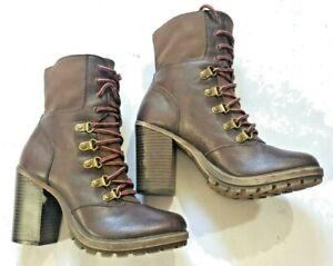Unionbay Lionel Women's  Ankle Combat Boots Dark Brown Lace Up Bootie