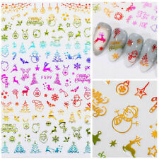 Christmas UV Gel Nail Decoration 3D Nail Stickers Colorful Snowflakes