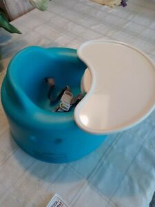 Bumbo Baby Seat with White Play Tray Blue Turquoise & Adjustable Safety Belt