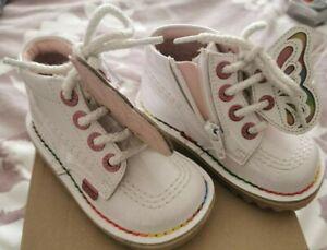 Girls - Kickers - White Patent Butterfly Boots - Size UK 6 (22)