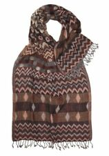 Pure Wool Large Patterned Aztec Brown/Beige Thick Jacquard Scarf/Stole/Shawl