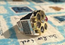 Russian Roulette Mens Ring In 925 Sterling Silver White & Yellow Rhodium Plated