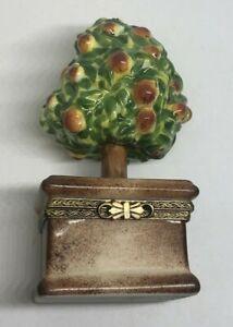 ANTIQUE Eximious Limoges France Peint Main Peach Tree TRINKET Box