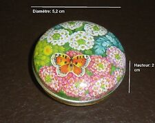 825  Boite vide à bonbons ou pilules en métal D 5,2 cm * H 2 cm