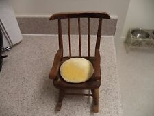"""Vintage Wood Rocking Chair pin cushion - Spindled backrest - 8.5"""" tall"""