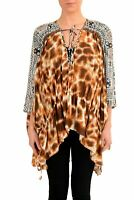 Just Cavalli Women's Graphic Designed Silk Tunic Blouse Top Size S M L