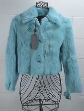 NWT - Autunno Shearlings Turqoise Blue Fur Rabbit Jacket Coat Size S / Small