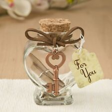 30 Copper Key Glass Heart Message Jar Wedding Bridal Shower Party Gift Favors