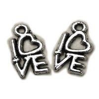 10 x Antique Silver LOVE word charms, Tibetan Love Heart Pendants,