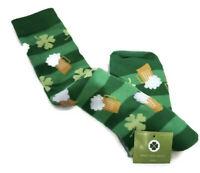 Womens St. Patricks Day Socks Green Striped Beer Shamrock Knee High 1 pair NWT