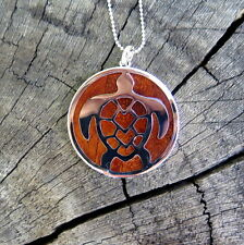 Hawaii Koa Wood Jewelry Silver Honu Turtle Rhodium Plated Brass Pendant BRP1055
