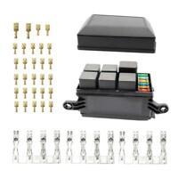 1 Set 6 vie ATO / ATC Fusibili Holder Block Relay Box Spade Terminal 4 Pin e