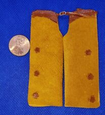 Dollhouse Miniature Gold/Tan Leather Chaps with Brown Stars -- 1:12 Scale